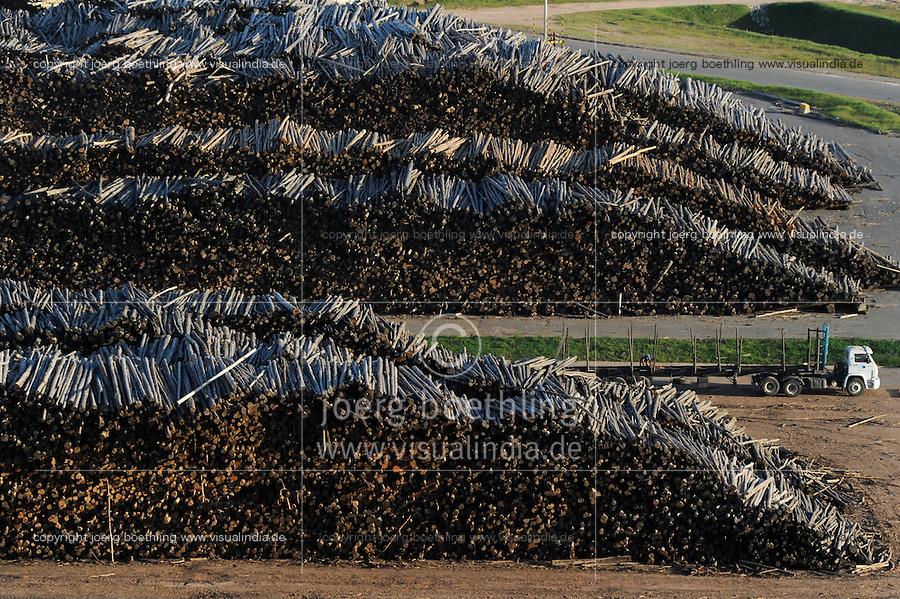 URUGUAY Fray Bentos ,  UPM pulp mill produce ECF (elemental chlorine free) pulp from FSC eucalyptus wood, Capacity, tonnes annually 1,100,000 and the mill produces electricity and steam for own consumption and in addition 20-30 MW electricity for the national grid , factory former known as BOTNIA, unloading and storage place for eucalyptus trees / URUGUAY Fray Bentos , Zellulosefabrik und Biomassekraftwerk der UPM ( vorher BOTNIA ) am Ufer des Fluss Uruguay , Herstellung von Zellulose aus FSC Eukalytus Holz fuer die Papierherstellung , ein eigenes Biomassekraftwerk produziert 40 MW Strom und Dampf