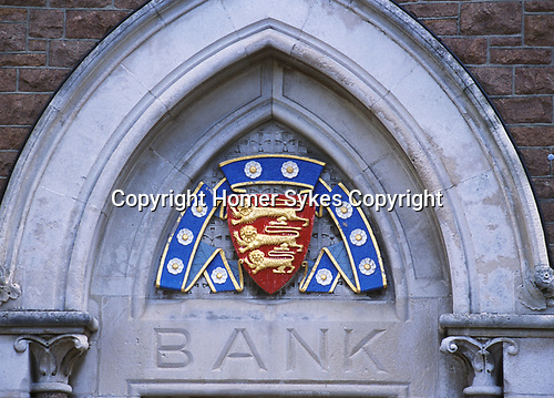 Bank sign in St Helier Jersey The Channel islands UK 2000s