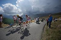 Alberto Losada (ESP/Katusha) & Adriano Malori (ITA/Movistar) up the Col d'Allos (1C/2250m/14km/5.5%)<br /> <br /> stage 17: Digne-les-Bains - Pra Loup (161km)<br /> 2015 Tour de France