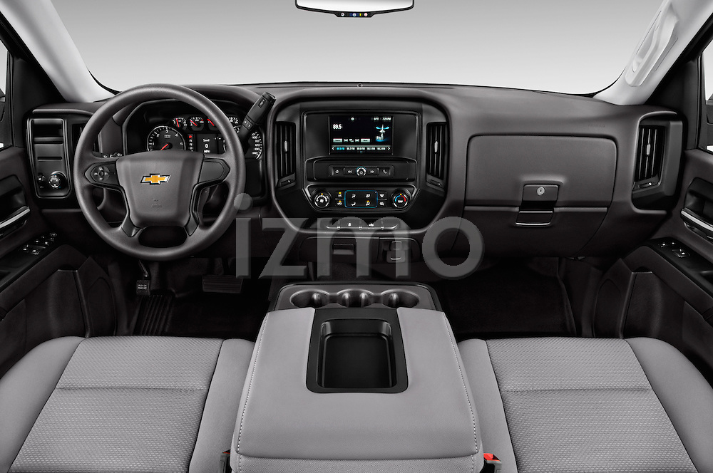 Stock photo of straight dashboard view of 2018 Chevrolet Silverado 1500 1WT Regular Cab Long Box 3 Door Pick-up Dashboard