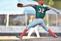Greensboro Grasshoppers starting pitcher Brady Puckett (32) delivers a pitch during a game against the Asheville Tourists at McCormick Field on May 10, 2018 in Asheville, North Carolina. The Tourists defeated the Grasshoppers 9-3. (Tony Farlow/Four Seam Images)