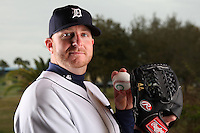 February 27, 2010:  Pitcher Bobby Seay (44) of the Detroit Tigers poses for a photo during media day at Joker Marchant Stadium in Lakeland, FL.  Photo By Mike Janes/Four Seam Images
