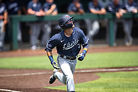 Liberty Flames right fielder Jake Wilson (7) hustles to first base against the Duke Blue Devils in NCAA Regional play on Robert M. Lindsay Field at Lindsey Nelson Stadium on June 4, 2021, in Knoxville, Tennessee. (Danny Parker/Four Seam Images)