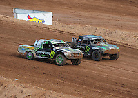 Mar. 20, 2011; Chandler, AZ, USA;  LOORRS pro lite driver Casey Currie (left) and Cameron Steele during round two at Firebird International Raceway. Mandatory Credit: Mark J. Rebilas-
