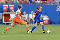 Frisco, TX - Sunday September 03, 2017: Sarah Hagen and Christine Nairn during a regular season National Women's Soccer League (NWSL) match between the Houston Dash and the Seattle Reign FC at Toyota Stadium in Frisco Texas. The match was moved to Toyota Stadium in Frisco Texas due to Hurricane Harvey hitting Houston Texas.