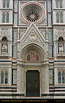 Left Portal and Rosette Window 19th c Facade Santa Maria del Fiore Florence