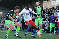 Liam Gordon of Dagenham and Jordan Keane of Stockport during Dagenham & Redbridge vs Stockport County, Vanarama National League Football at the Chigwell Construction Stadium on 8th February 2020