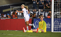 PASADENA, CALIFORNIA - August 03: Lindsey Horan #9 scores and celebrates during their international friendly and the USWNT Victory Tour match between Ireland and the United States at the Rose Bowl on August 03, 2019 in Pasadena, CA.