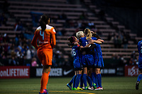 Seattle, WA - Saturday April 22, 2017: Seattle Reign FC celebrates during a regular season National Women's Soccer League (NWSL) match between the Seattle Reign FC and the Houston Dash at Memorial Stadium.