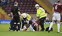 31/10/2009  Copyright  Pic : James Stewart.sct_jspa15_motherwell_v_hearts  . :: CHRISTIAN NADE GETS TREATMENT BEFORE BEING CARRIED OFF :: .James Stewart Photography 19 Carronlea Drive, Falkirk. FK2 8DN      Vat Reg No. 607 6932 25.Telephone      : +44 (0)1324 570291 .Mobile              : +44 (0)7721 416997.E-mail  :  jim@jspa.co.uk.If you require further information then contact Jim Stewart on any of the numbers above.........
