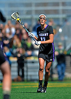 28 April 2012: University at Albany Great Dame attacker/midfielder Jess Antelmi, a Junior from Bridgeport, NY, in action against the University of Vermont Catamounts at Virtue Field in Burlington, Vermont. The Lady Danes defeated the Lady Cats 12-10 in America East Women's Lacrosse. Mandatory Credit: Ed Wolfstein Photo