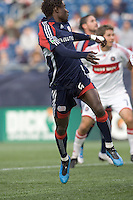 New England Revolution defender Emmanuel Osei (5) heads in his first goal of 2009. The New England Revolution out scored the Chicago Fire, 2-1, in Game 1 of the Eastern Conference Semifinal Series at Gillette Stadium on November 1, 2009.