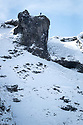 12/02/18<br /> <br /> A hiker stands on rocks overlooking Winnats Pass near Castleton in the Derbyshire Peak District.<br /> <br /> All Rights Reserved F Stop Press Ltd. +44 (0)1335 344240 +44 (0)7765 242650  www.fstoppress.com