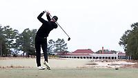 PINEHURST, NC - MARCH 02: Mark Power of Wake Forest University tees off on the 18th hole at Pinehurst No. 2 on March 02, 2021 in Pinehurst, North Carolina.