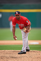 Louisville Bats relief pitcher Dayan Diaz (31) looks in for the sign during a game against the Buffalo Bisons on June 23, 2016 at Coca-Cola Field in Buffalo, New York.  Buffalo defeated Louisville 9-6.  (Mike Janes/Four Seam Images)