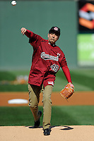 University of South Carolina President Harris Pastides threw out the first pitch before the Reedy River Rivalry game on March 1, 2014, at Fluor Field at the West End in Greenville, South Carolina. South Carolina won, 10-2. (Tom Priddy/Four Seam Images)