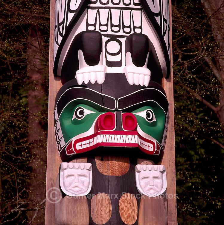 Close Up Detail of Bear on Kwakwaka'wakw (Kwakiutl) Totem Pole, called Chief Wakas Pole, at Brockton Point in Stanley Park, Vancouver, British Columbia, Canada.