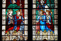 Stained glass Windows of Cathedral of Chartres, France - showing  the kings of France. A UNESCO World Heritage Site.