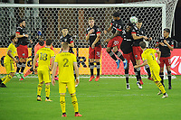 WASHINGTON, DC - OCTOBER 28: Pedro Santos #7 of Columbus Crew SC attempts a shot on goal during a game between Columbus Crew and D.C. United at Audi Field on October 28, 2020 in Washington, DC.