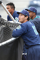 Alex Jackson (10) of the Everett AquaSox watches batting practice before a game against the Spokane Indians at Everett Memorial Stadium on July 25, 2015 in Everett, Washington. Spokane defeated Everett, 10-1. (Larry Goren/Four Seam Images)