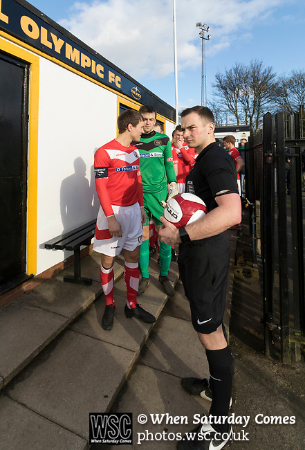 Rushall Olympic 1 Workingon 0, 17/02/2018. Dales Lane, Northern Premier League Premier Division. Referee Mr Rollason chatting with Workington Captain Gari (sic) Rowntree. Photo by Paul Thompson. Rushall Olympic 1 Workingon 0, Northern Premier League Premier Division, 17th February 2018. Rushall is a former mining village now part of the northern suburbs of Walsall.