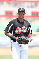 Ronald Guzman (31) of the High Desert Mavericks in the field during a game against the Bakersfield Blaze at Mavericks Stadium on May 18, 2015 in Adelanto, California. High Desert defeated Bakersfield, 7-6. (Larry Goren/Four Seam Images)