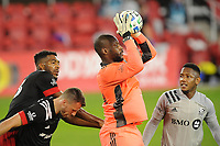 WASHINGTON, DC - NOVEMBER 8: Bill Hamid #24 of D.C. United goes up to make a save during a game between Montreal Impact and D.C. United at Audi Field on November 8, 2020 in Washington, DC.