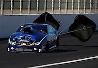 Nov 8, 2013; Pomona, CA, USA; NHRA pro stock driver Rodger Brogdon during qualifying for the Auto Club Finals at Auto Club Raceway at Pomona. Mandatory Credit: Mark J. Rebilas-