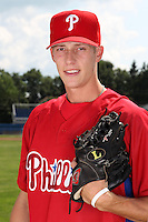 Williamsport Crosscutters pitcher Craig Fritsch (28) poses for a photo in Phillies gear before a game vs the Batavia Muckdogs at Dwyer Stadium in Batavia, New York July 26, 2010.   Batavia defeated Williamsport 3-2.  Photo By Mike Janes/Four Seam Images