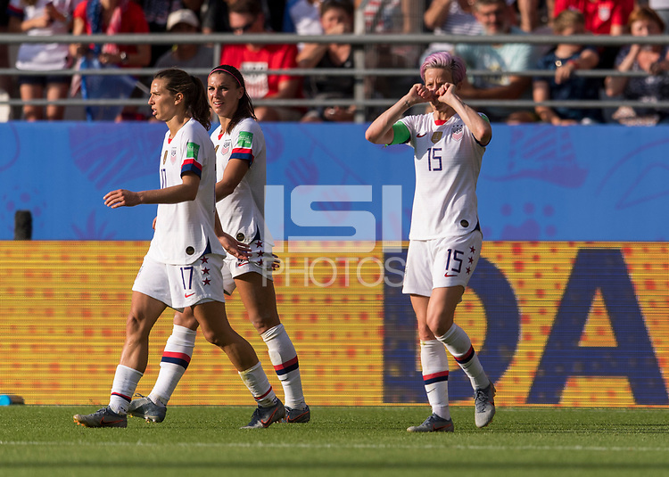 REIMS,  - JUNE 24: Megan Rapinoe #15 celebrates her goal during a game between NT v Spain and  at Stade Auguste Delaune on June 24, 2019 in Reims, France.