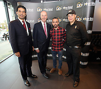 Pictured: Leon Britton (3rd L) and MP Geraint Davies (2nd L)Friday 17 February 2017<br />Re: Swansea footballer Leon Britton at the official opening of German Doner Kebab restaurant in the Uplands area of Swansea, Wales, UK.