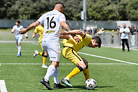 Riley Bidois of the Wellington Phoenix competes for the ball with Ben Mata of Team Wellington during the SPS Handa Men's Premiership - Wellington Phoenix v Team Wellington at Fraser Park, Wellington on Saturday 14 November 2020.<br /> Copyright photo: Masanori Udagawa /  www.photosport.nz