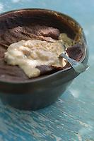 France, Calvados (14), Pays d'Auge, Mery-Corbon, Teurgoule de la Ferme des Patis // France, Calvados, Pays d'Auge, Mery Corbon, Teurgoule, local rice pudding from Ferme des Patis