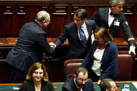 Roberto Gualtieri, Giuseppe Conte and Luciana Lamorgese<br /> Rome September 9th 2019. Lower Chamber. Programmatic speech of the new appointed Italian Premier at the Chamber of Deputies to explain the program of the yellow-red executive. After his speech the Chamber is called to the trust vote at the new Government. <br /> Foto  Samantha Zucchi Insidefoto