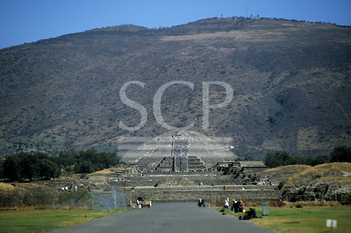 Teotihuacan, Mexico. The Temple of the Moon and the Plaza of the Moon; pre-Columbian city. Temples, tourists walking.