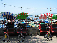 Colorful rickshaws in Cheung Chau's fishing village near Hong Kong