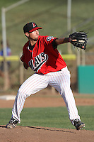 Timothy Boyce #13 of the High Desert Mavericks pitches against the Stockton Ports at Stater Bros. Stadium on May 27, 2012 in Adelanto,California. High Desert defeated Stockton 6-5.(Larry Goren/Four Seam Images)