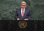 Opening of GA 72 2017 PM<br /> <br /> His Excellency Serzh Sargsyan, President of the Republic of Armenia