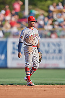 Edmundo Sosa (39) of the Memphis Redbirds on defense against the Salt Lake Bees at Smith's Ballpark on July 24, 2018 in Salt Lake City, Utah. Memphis defeated Salt Lake 14-4. (Stephen Smith/Four Seam Images)