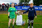 Carmel Harkin, Secretary of the Munster Camogie Association presenting the MOTM award to Kerry's Sara Murphy after winning the Munster Junior Camogie final