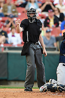 Umpire Nick Lentz makes a call during a game between the Pawtucket Red Sox and Buffalo Bisons on August 23, 2014 at Coca-Cola Field in Buffalo, New  York.  Buffalo defeated Pawtucket 15-2.  (Mike Janes/Four Seam Images)