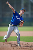 Cody Damon (15), from Palm Beach Gardens, FL, while playing for the Dodgers during the Baseball Factory Pirate City Christmas Camp & Tournament on December 29, 2017 at Pirate City in Bradenton, Florida.  (Mike Janes/Four Seam Images)