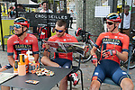 Bahrain-Merida riders relax in the Tour Village before the start of Stage 14 of the 2019 Tour de France running 117.5km from Tarbes to Tourmalet Bareges, France. 20th July 2019.<br /> Picture: Colin Flockton | Cyclefile<br /> All photos usage must carry mandatory copyright credit (© Cyclefile | Colin Flockton)