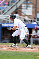Jamestown Jammers second baseman Erik Lunde (6) at bat during a game against the Mahoning Valley Scrappers on June 16, 2014 at Russell Diethrick Park in Jamestown, New York.  Mahoning Valley defeated Jamestown 2-1.  (Mike Janes/Four Seam Images)