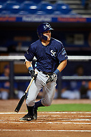 Charlotte Stone Crabs second baseman Tristan Gray (9) follows through on a swing during the second game of a doubleheader against the St. Lucie Mets on April 24, 2018 at First Data Field in Port St. Lucie, Florida.  St. Lucie defeated Charlotte 5-3.  (Mike Janes/Four Seam Images)