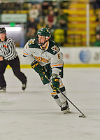20 February 2016: University of Vermont Catamount Defenseman Mitch Ferguson, a Sophomore from Calgary, Alberta, in action during the second period against the Boston College Eagles at Gutterson Fieldhouse in Burlington, Vermont. The Eagles defeated the Catamounts 4-1 in the second game of their weekend series. Mandatory Credit: Ed Wolfstein Photo *** RAW (NEF) Image File Available ***