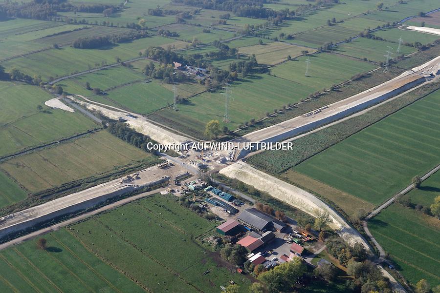 Autobahnbaustelle A26 an der Kreisstrasse 40: EUROPA, DEUTSCHLAND, NIEDERSACHSEN, NEU WULMSTORF (EUROPE, GERMANY), 19.10.2018: Autobahnbaustelle A26 an der Kreisstrasse 40
