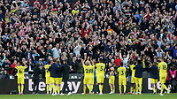Brentford players applaud their fans at the end of the match after winning 2-1 during West Ham United vs Brentford, Premier League Football at The London Stadium on 3rd October 2021