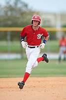GCL Nationals shortstop Carter Kieboom (9) running the bases after hitting a home run during a game against the GCL Astros on August 14, 2016 at the Carl Barger Baseball Complex in Viera, Florida.  GCL Nationals defeated GCL Astros 8-6.  (Mike Janes/Four Seam Images)