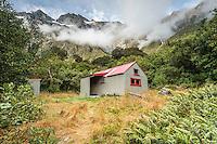 Douglas Rock Hut in Copland Valley under Southern Alps, Westland National Park, West Coast, South Westland, World Heritage Area, New Zealand